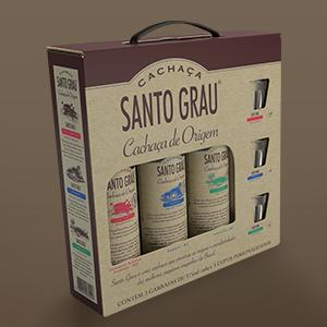 3 bottles of Santo Grau Cachaça + three glasses (kit)